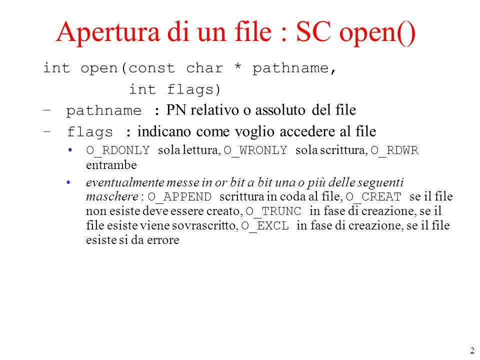 Apertura di un file : SC open()