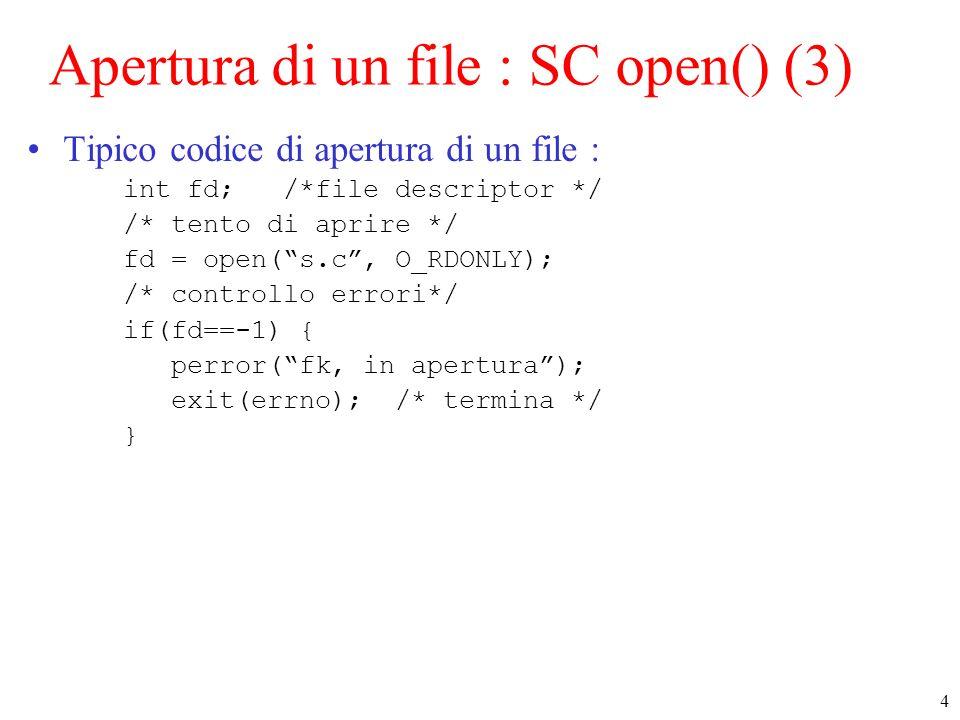 Apertura di un file : SC open() (3)