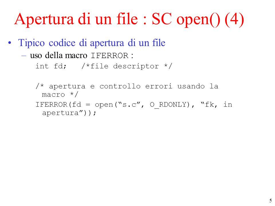 Apertura di un file : SC open() (4)
