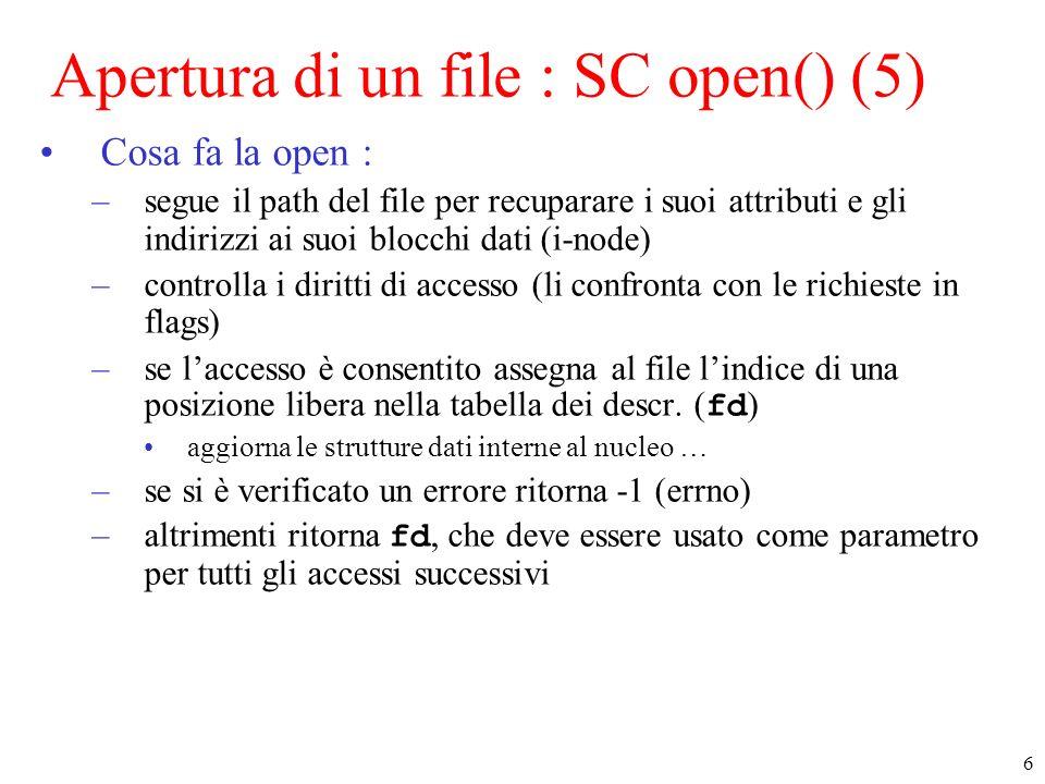Apertura di un file : SC open() (5)
