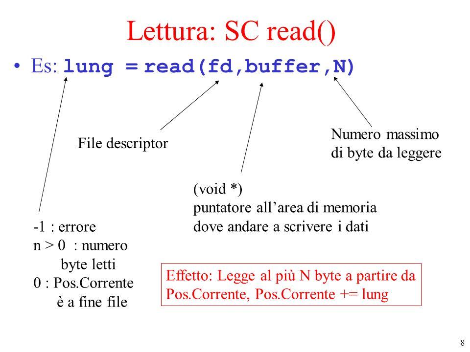Lettura: SC read() Es: lung = read(fd,buffer,N) Numero massimo