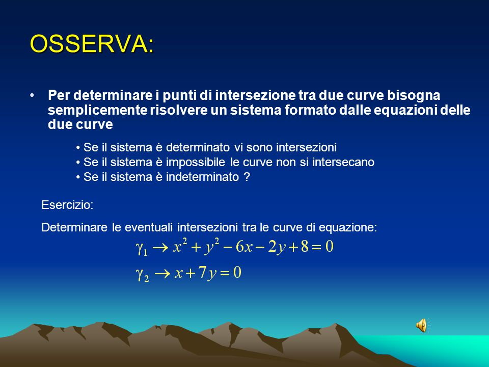 OSSERVA: Per determinare i punti di intersezione tra due curve bisogna semplicemente risolvere un sistema formato dalle equazioni delle due curve.