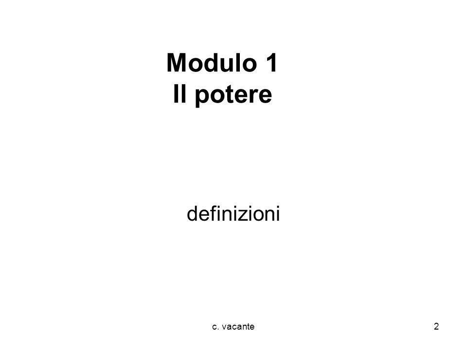 Modulo 1 Il potere definizioni c. vacante