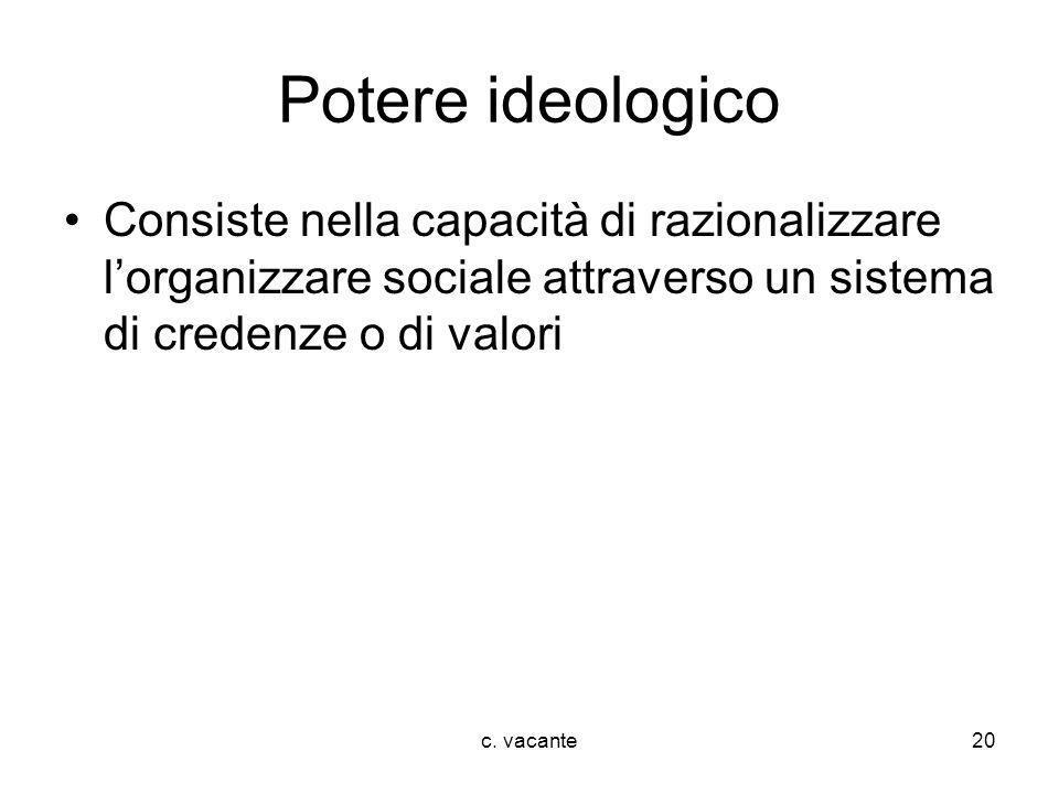 Potere ideologico Consiste nella capacità di razionalizzare l'organizzare sociale attraverso un sistema di credenze o di valori.