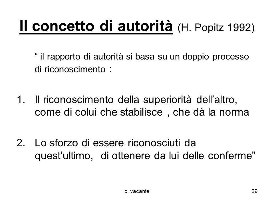 Il concetto di autorità (H. Popitz 1992)