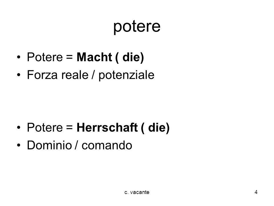 potere Potere = Macht ( die) Forza reale / potenziale
