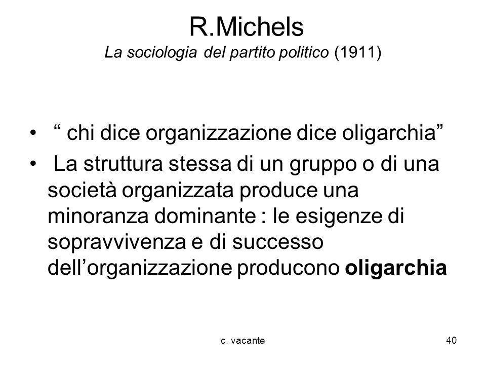 R.Michels La sociologia del partito politico (1911)