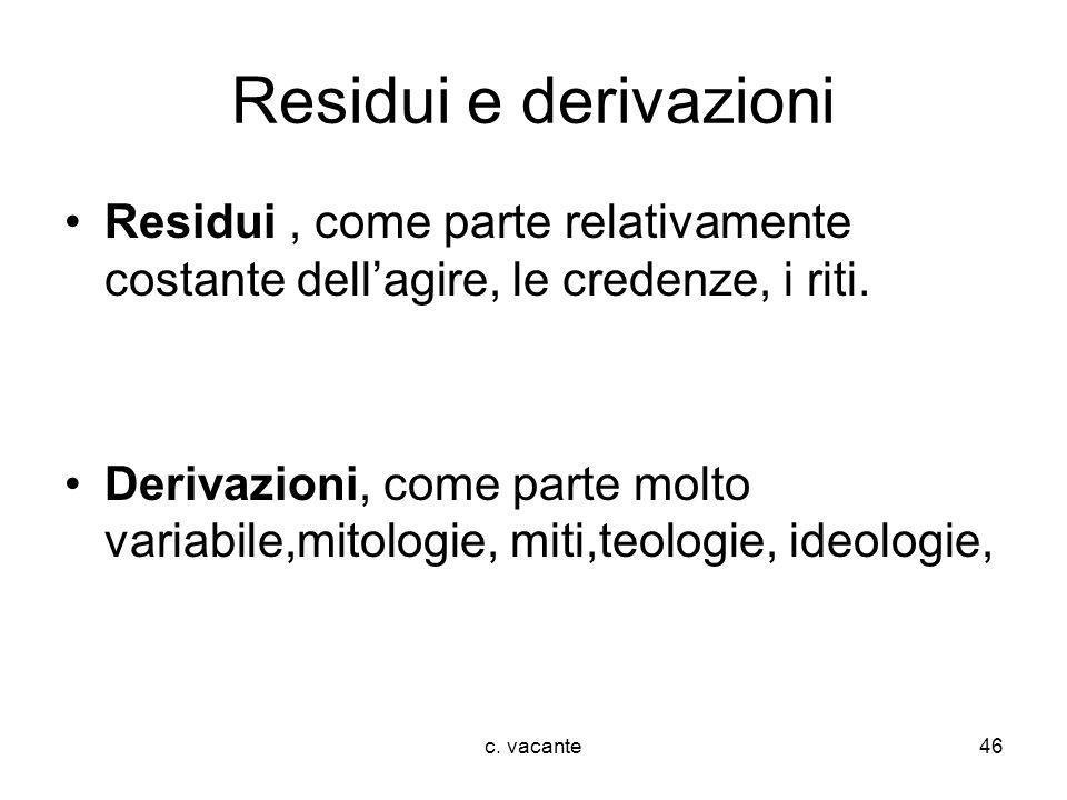 Residui e derivazioni Residui , come parte relativamente costante dell'agire, le credenze, i riti.