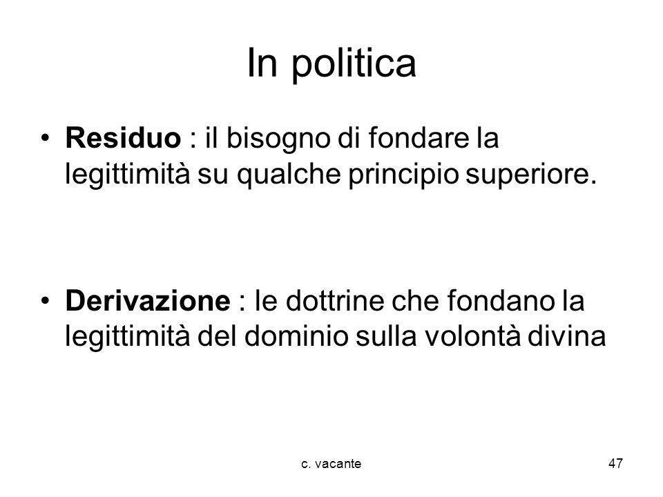 In politica Residuo : il bisogno di fondare la legittimità su qualche principio superiore.