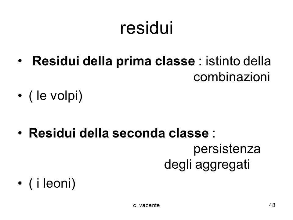 residui Residui della prima classe : istinto della combinazioni