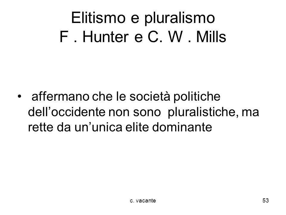 Elitismo e pluralismo F . Hunter e C. W . Mills