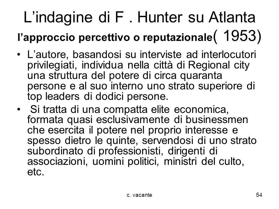 L'indagine di F . Hunter su Atlanta l'approccio percettivo o reputazionale( 1953)