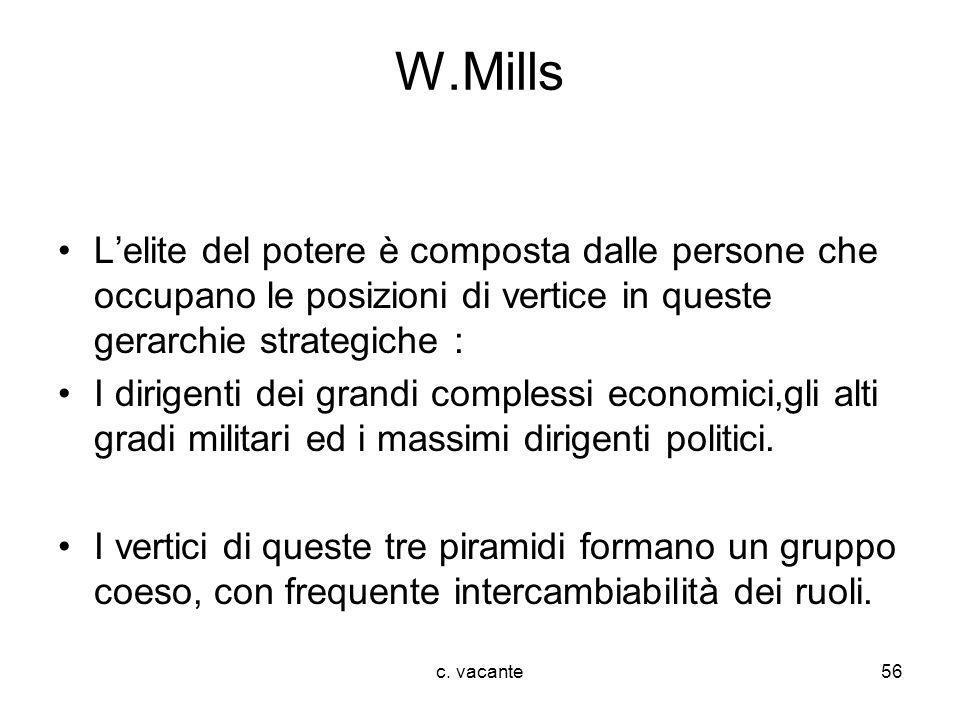 W.Mills L'elite del potere è composta dalle persone che occupano le posizioni di vertice in queste gerarchie strategiche :