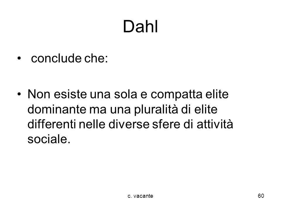 Dahl conclude che: Non esiste una sola e compatta elite dominante ma una pluralità di elite differenti nelle diverse sfere di attività sociale.