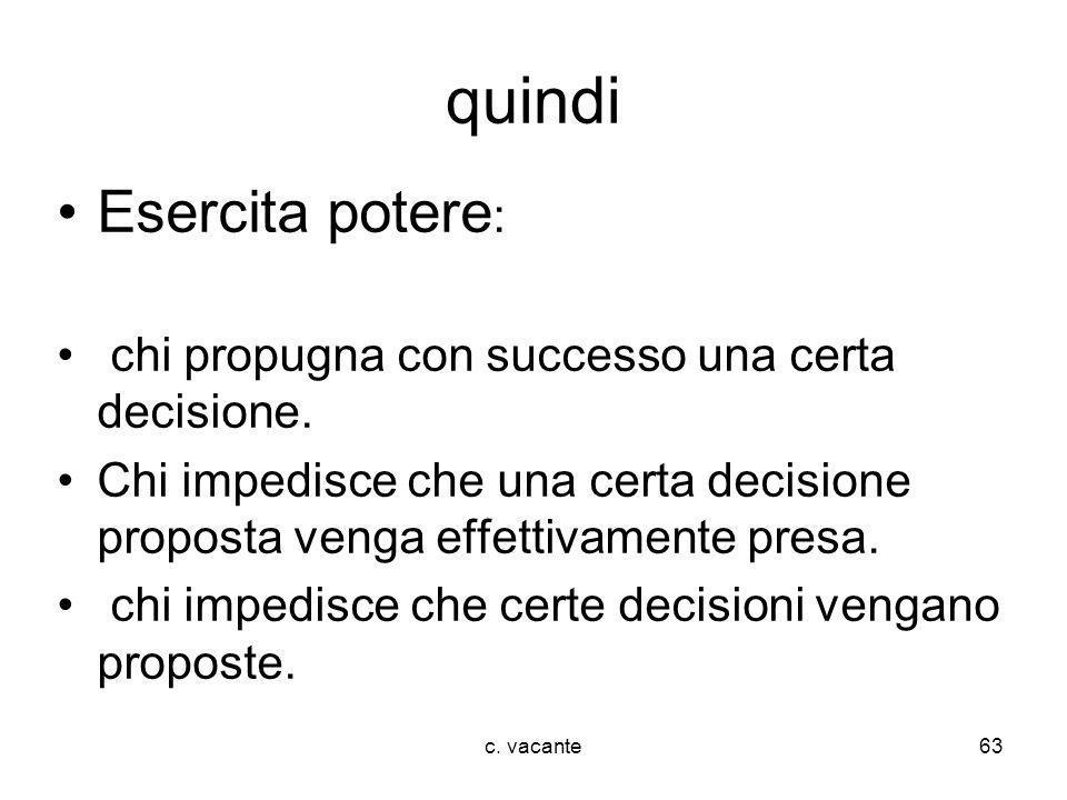 quindi Esercita potere: chi propugna con successo una certa decisione.