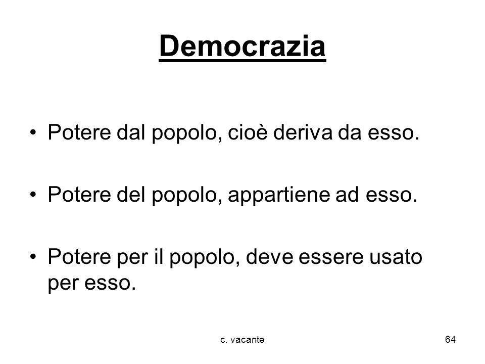 Democrazia Potere dal popolo, cioè deriva da esso.