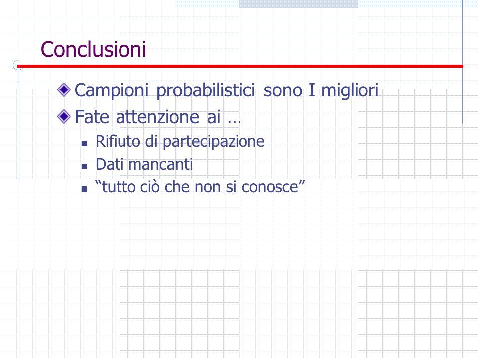 Conclusioni Campioni probabilistici sono I migliori