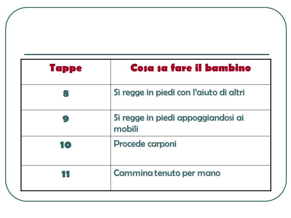 Tappe Cosa sa fare il bambino 8 9 10 11