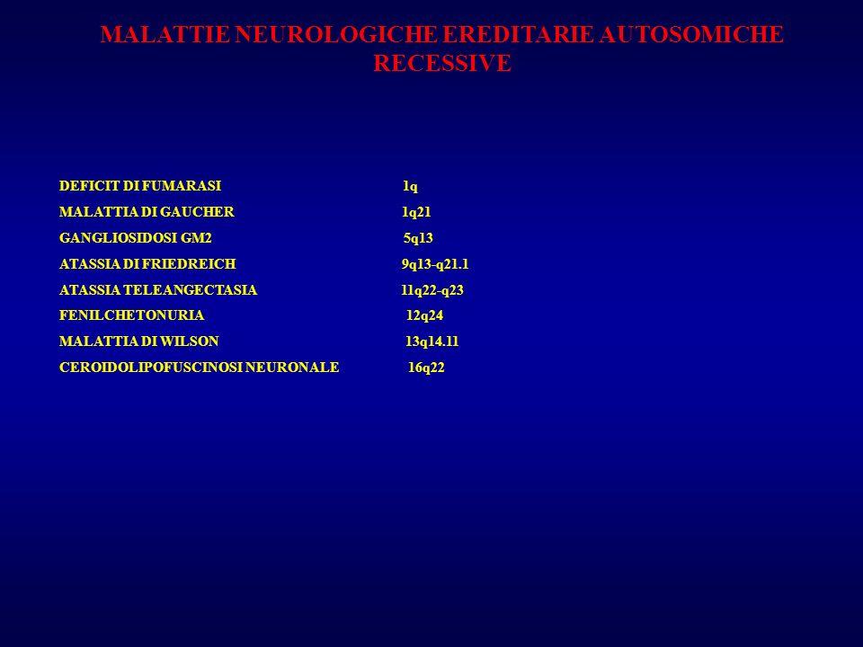 MALATTIE NEUROLOGICHE EREDITARIE AUTOSOMICHE RECESSIVE