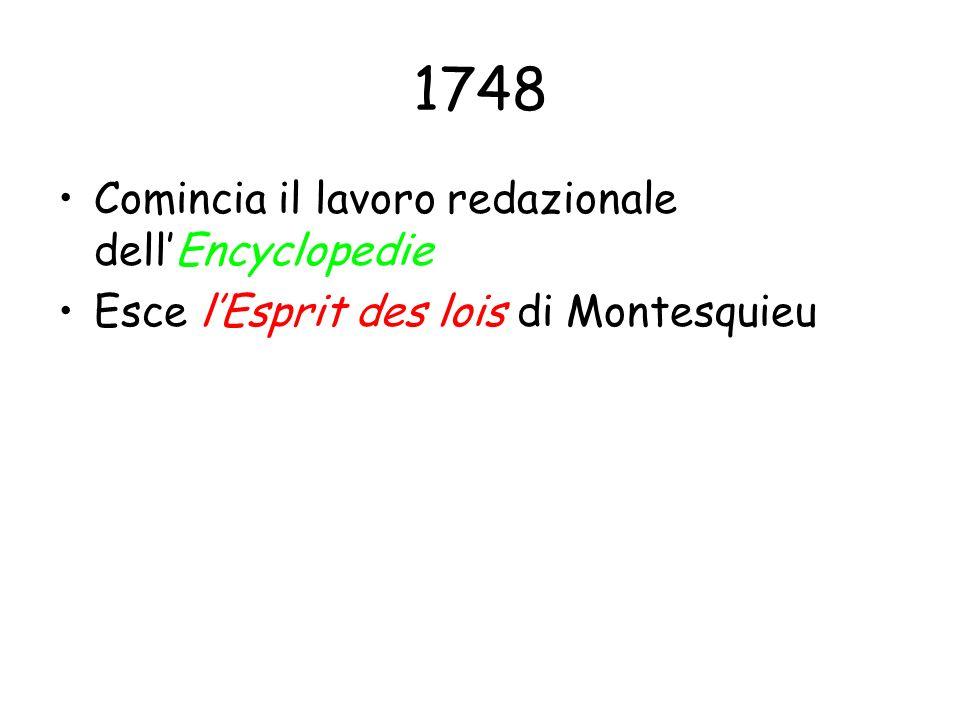 1748 Comincia il lavoro redazionale dell'Encyclopedie