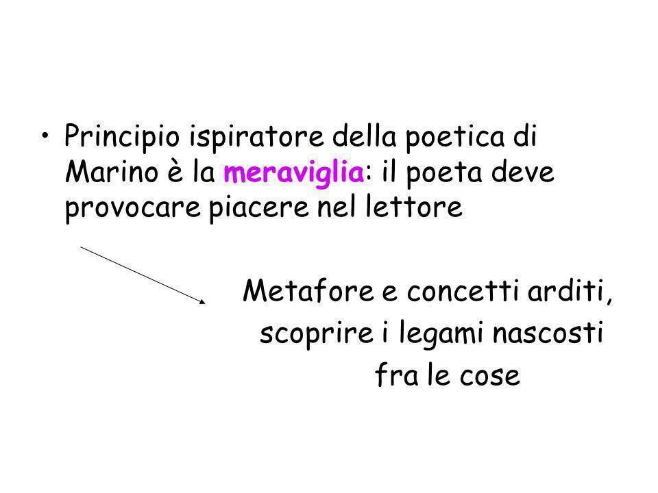 Principio ispiratore della poetica di Marino è la meraviglia: il poeta deve provocare piacere nel lettore