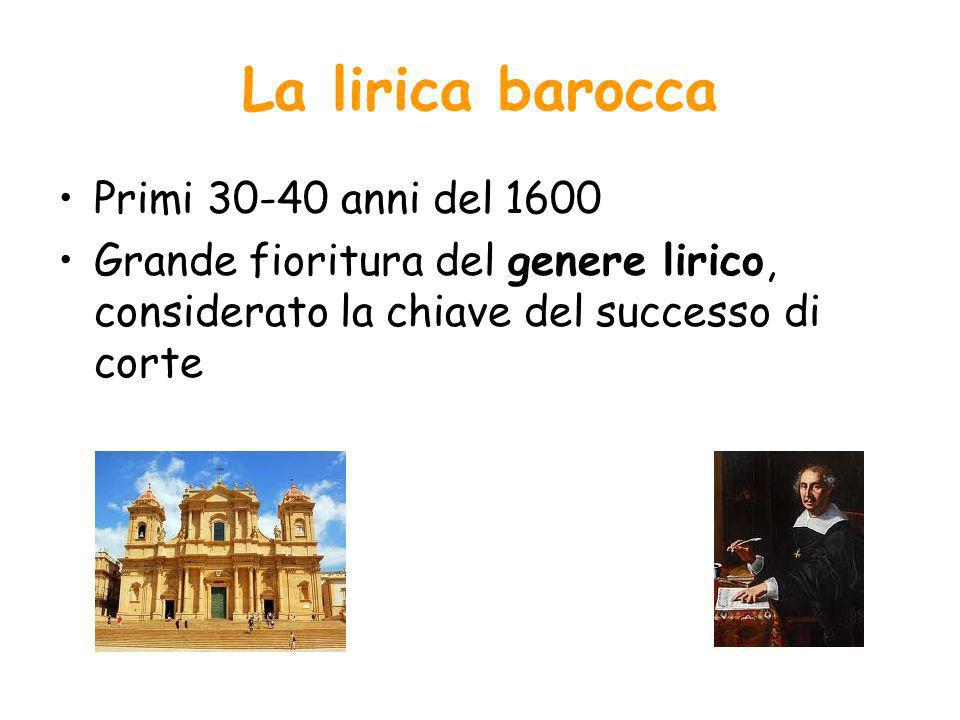 La lirica barocca Primi 30-40 anni del 1600