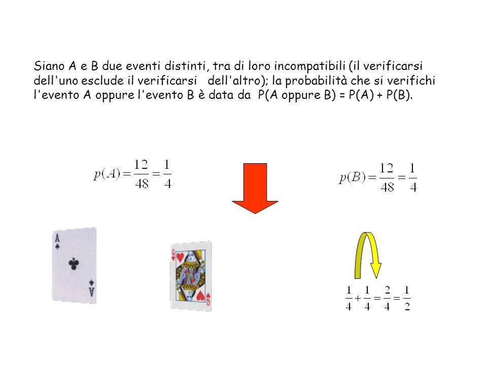 Siano A e B due eventi distinti, tra di loro incompatibili (il verificarsi dell uno esclude il verificarsi dell altro); la probabilità che si verifichi l evento A oppure l evento B è data da P(A oppure B) = P(A) + P(B).