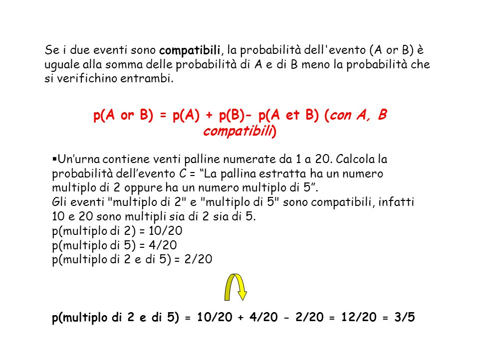 p(A or B) = p(A) + p(B)- p(A et B) (con A, B compatibili)