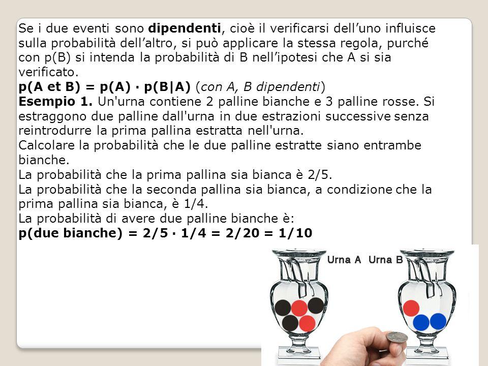 Se i due eventi sono dipendenti, cioè il verificarsi dell'uno influisce sulla probabilità dell'altro, si può applicare la stessa regola, purché con p(B) si intenda la probabilità di B nell'ipotesi che A si sia verificato.