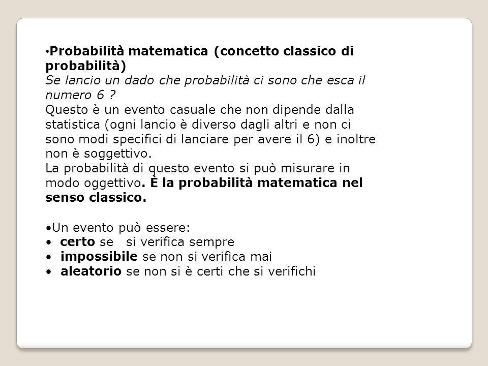 Probabilità matematica (concetto classico di probabilità)