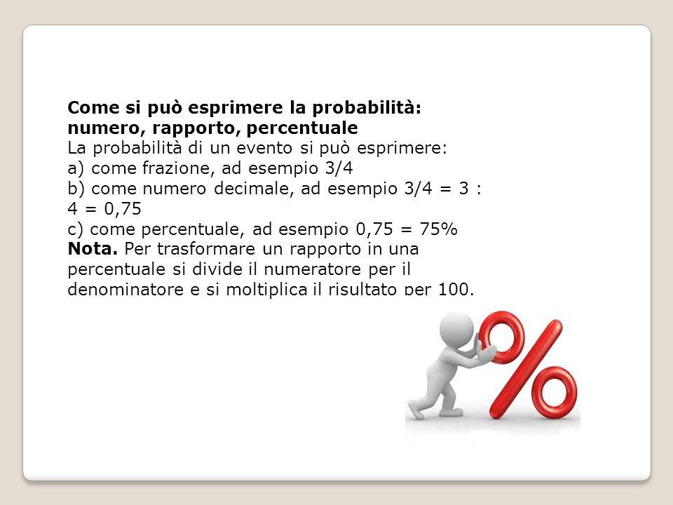 Come si può esprimere la probabilità: numero, rapporto, percentuale