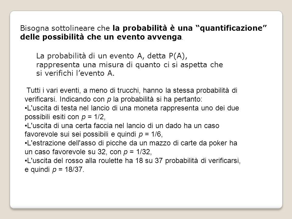 Bisogna sottolineare che la probabilità è una quantificazione delle possibilità che un evento avvenga.