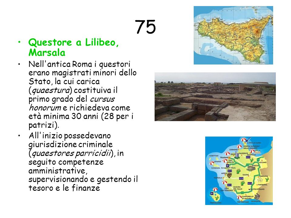 75 Questore a Lilibeo, Marsala