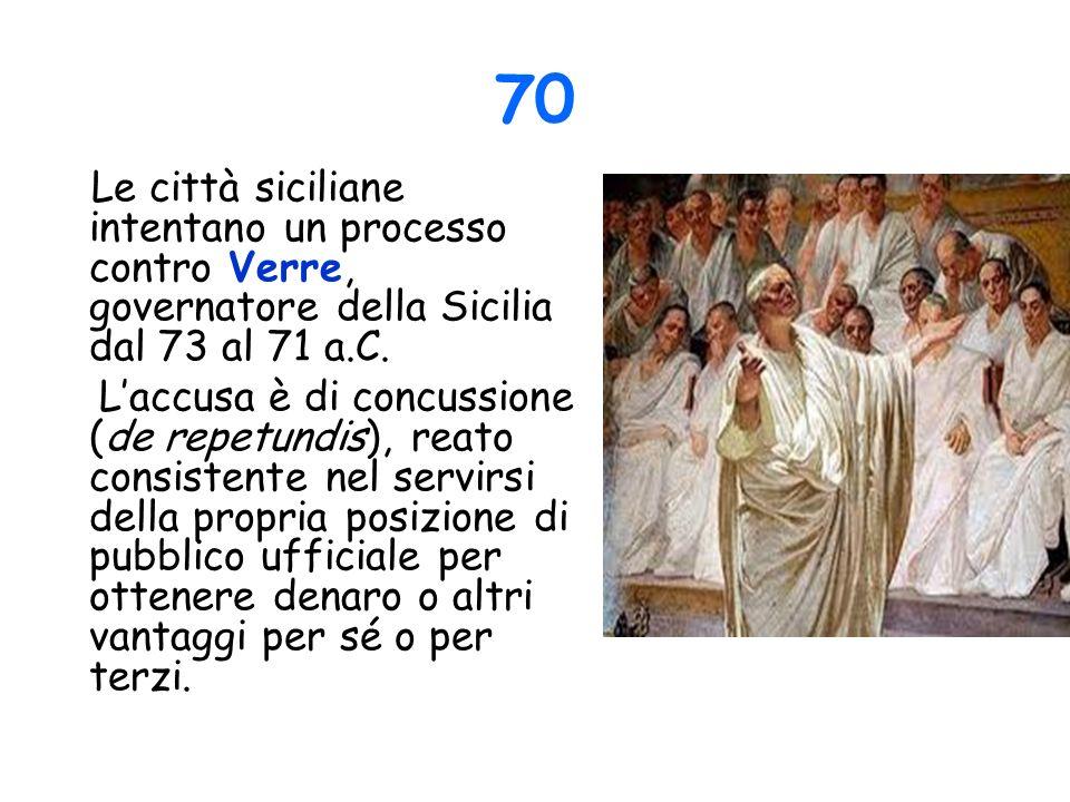 70Le città siciliane intentano un processo contro Verre, governatore della Sicilia dal 73 al 71 a.C.