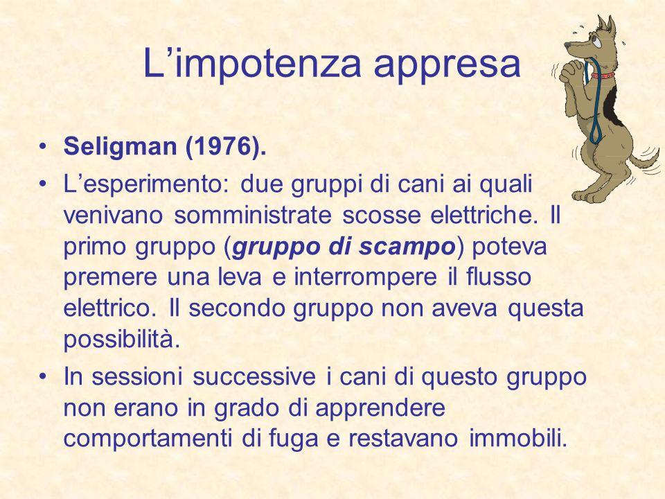 L'impotenza appresa Seligman (1976).