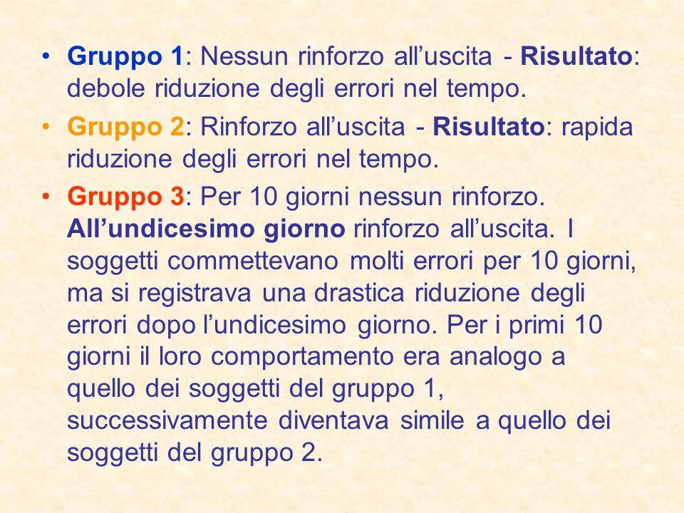 Gruppo 1: Nessun rinforzo all'uscita - Risultato: debole riduzione degli errori nel tempo.