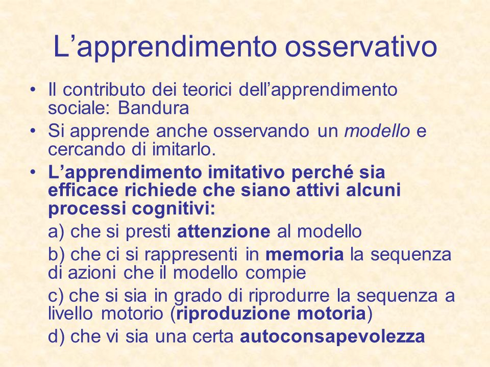 L'apprendimento osservativo