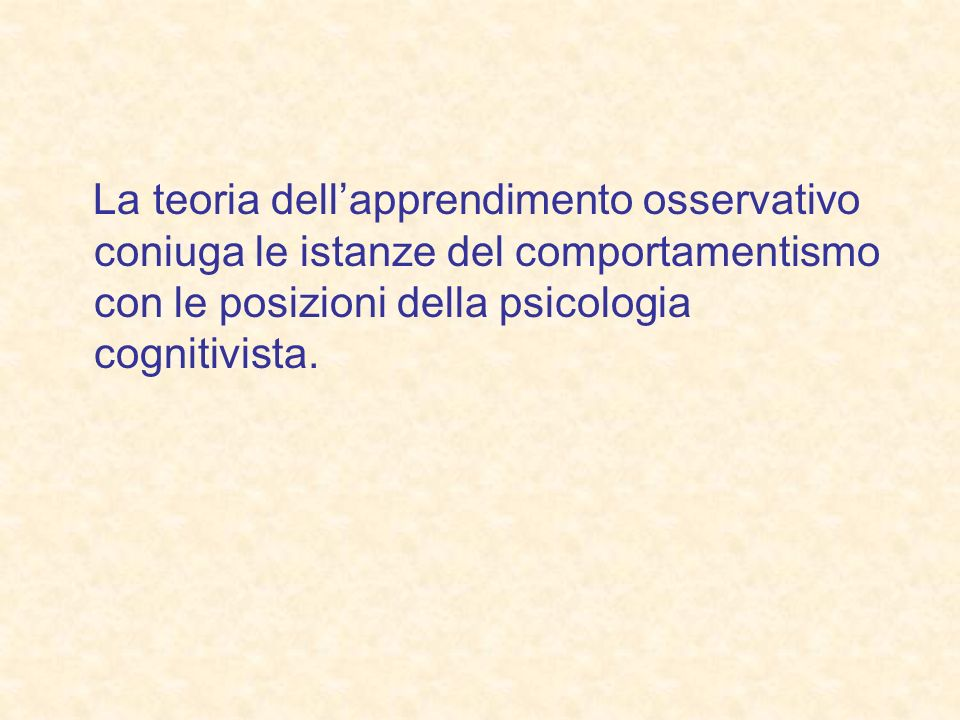 La teoria dell'apprendimento osservativo coniuga le istanze del comportamentismo con le posizioni della psicologia cognitivista.