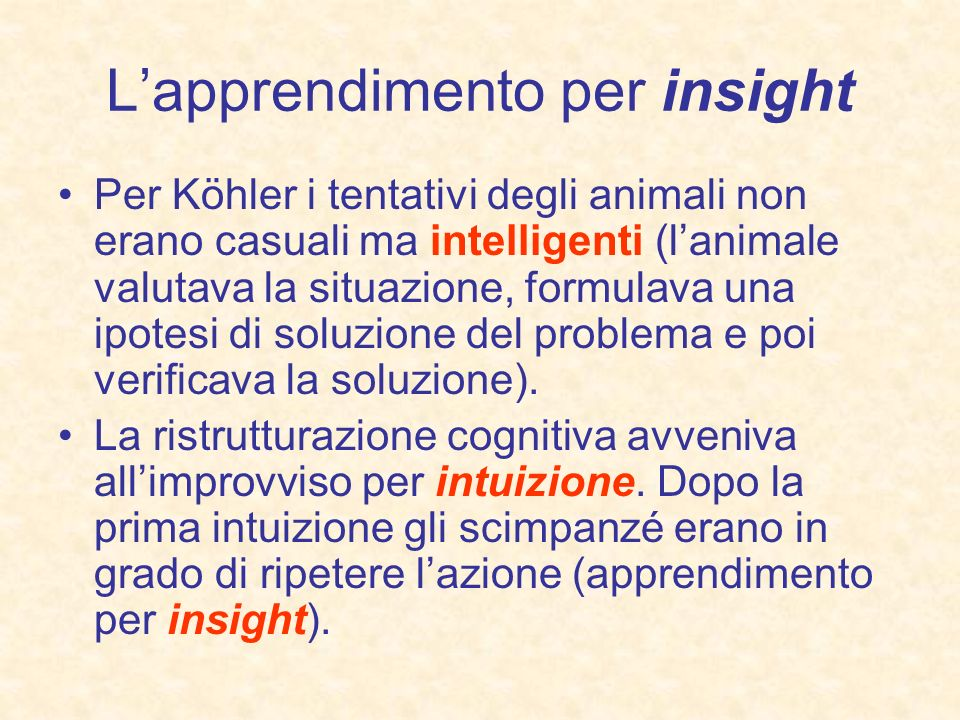 L'apprendimento per insight