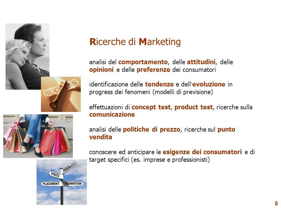 Ricerche di Marketing analisi del comportamento, delle attitudini, delle opinioni e delle preferenze dei consumatori.