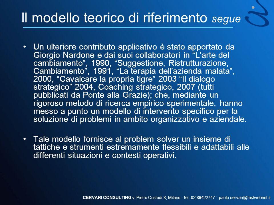 Il modello teorico di riferimento segue