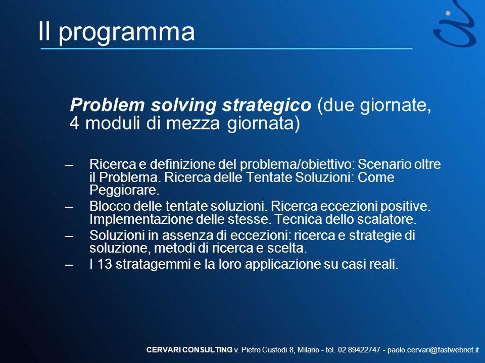 Il programma Problem solving strategico (due giornate, 4 moduli di mezza giornata)