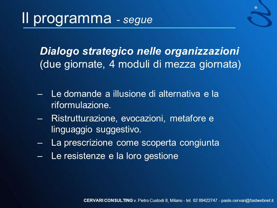 Il programma - segue Dialogo strategico nelle organizzazioni (due giornate, 4 moduli di mezza giornata)