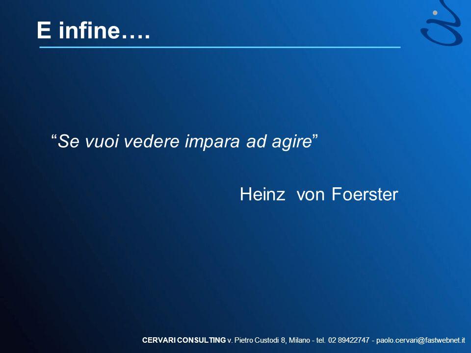 E infine…. Se vuoi vedere impara ad agire Heinz von Foerster