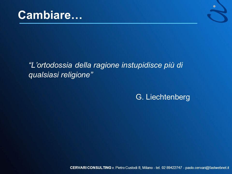 Cambiare… L'ortodossia della ragione instupidisce più di qualsiasi religione G. Liechtenberg.