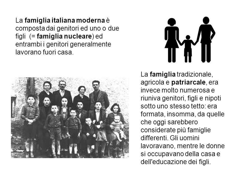 La famiglia italiana moderna è composta dai genitori ed uno o due figli (= famiglia nucleare) ed entrambi i genitori generalmente lavorano fuori casa.