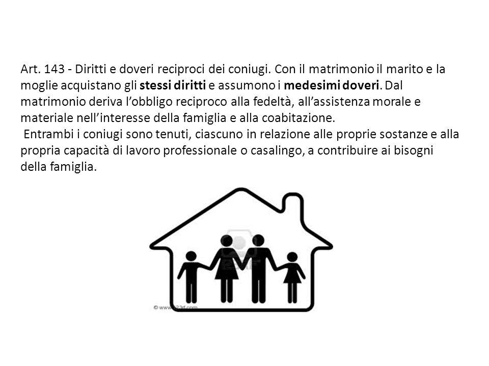Art. 143 - Diritti e doveri reciproci dei coniugi