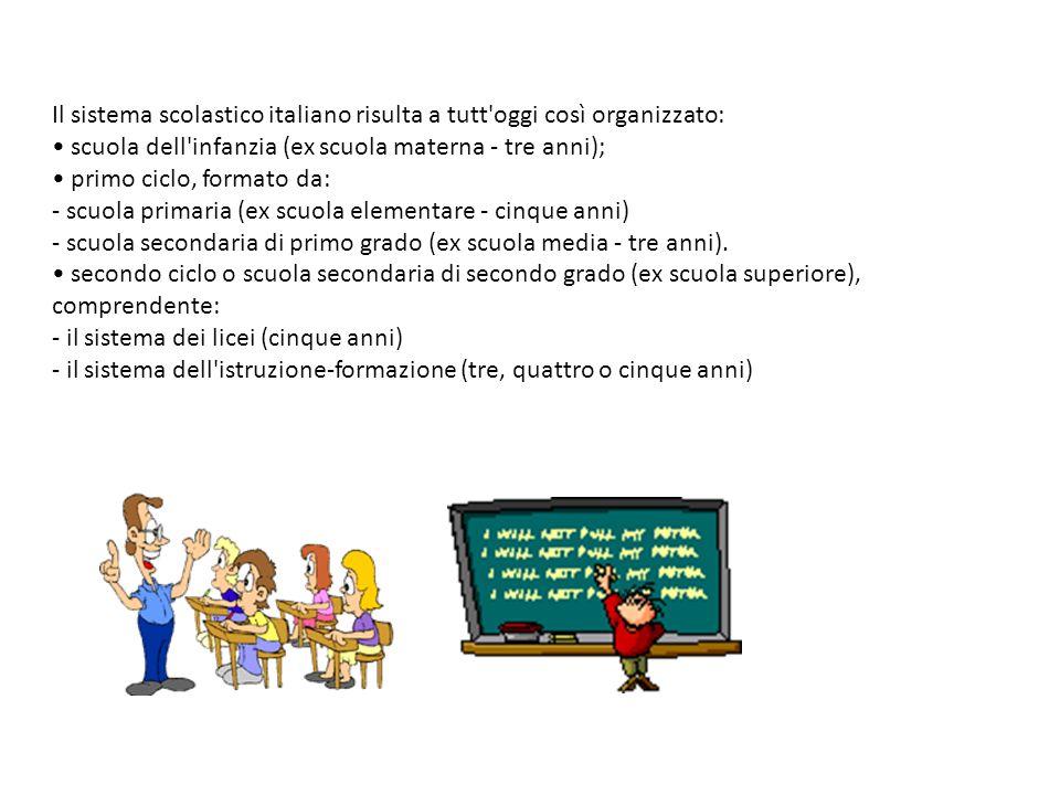 Il sistema scolastico italiano risulta a tutt oggi così organizzato: • scuola dell infanzia (ex scuola materna - tre anni); • primo ciclo, formato da: - scuola primaria (ex scuola elementare - cinque anni) - scuola secondaria di primo grado (ex scuola media - tre anni).
