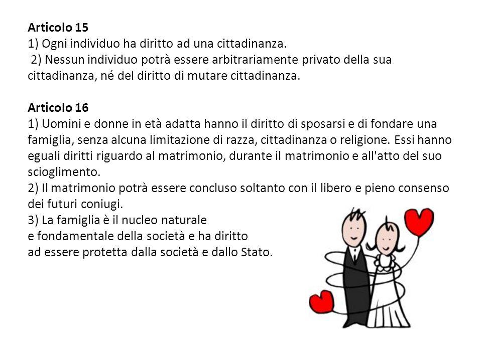 Articolo 15 1) Ogni individuo ha diritto ad una cittadinanza