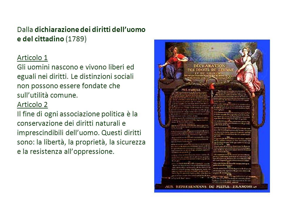 Dalla dichiarazione dei diritti dell'uomo e del cittadino (1789) Articolo 1 Gli uomini nascono e vivono liberi ed eguali nei diritti.